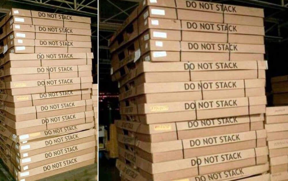 Stacked Do Not Stack Boxes @ u / KevenM / Reddit.com