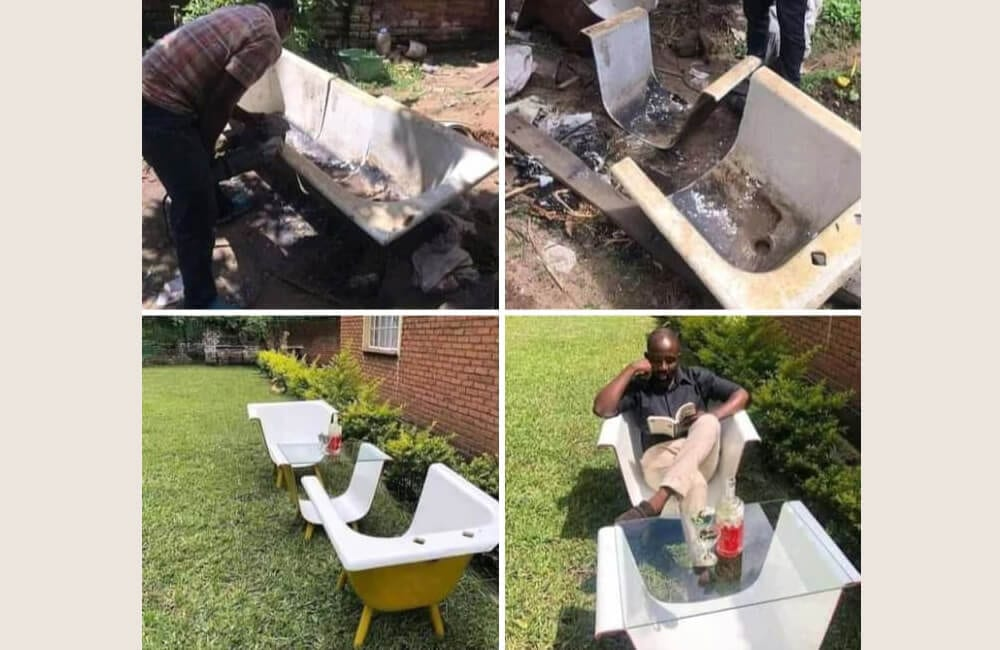 Claw Foot Tub Into Patio Table and Chairs © Reddit.com
