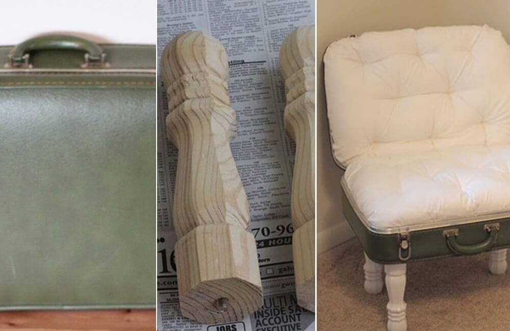 Vintage Suitcase Into Chair @boredpanda / Pinterest.com