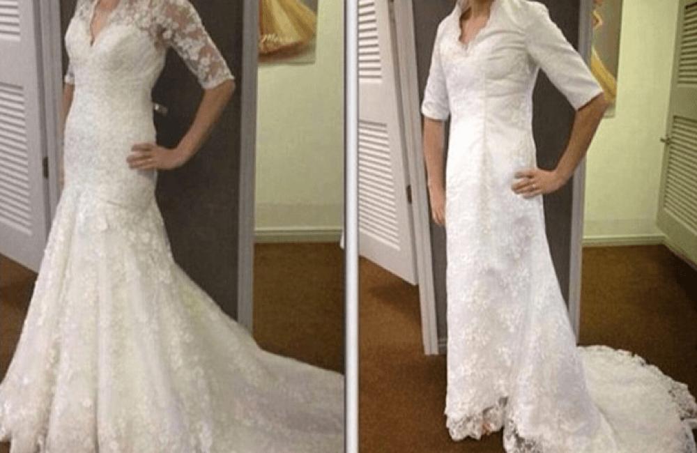 Paper Towel Roll Wedding Dress @ BridesBeware / Facebook.com