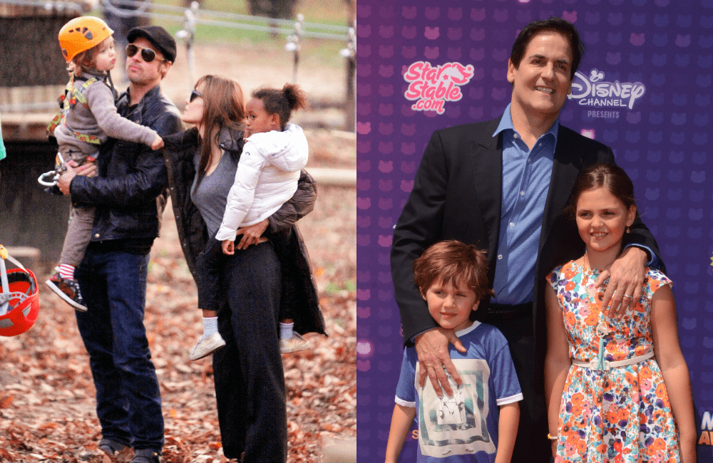 The Jolie-Pitt Family @Northfoto and Mark Cuban's Family @Tinseltown / Shutterstock.com