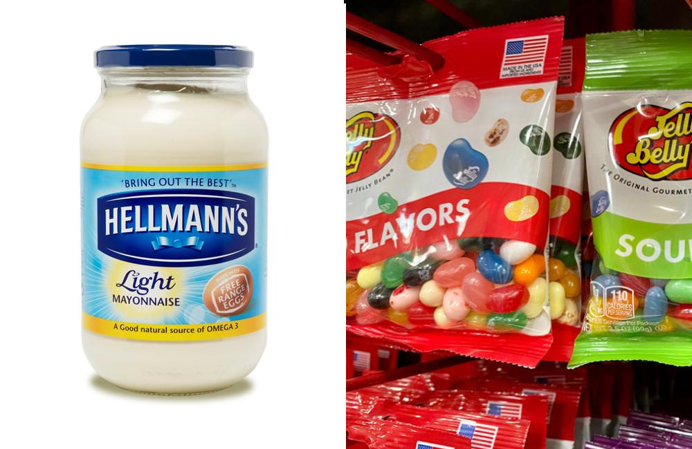 Hellman's Mayo @abimages / Shutterstock Jelly Belly @ZikG / Shutterstock