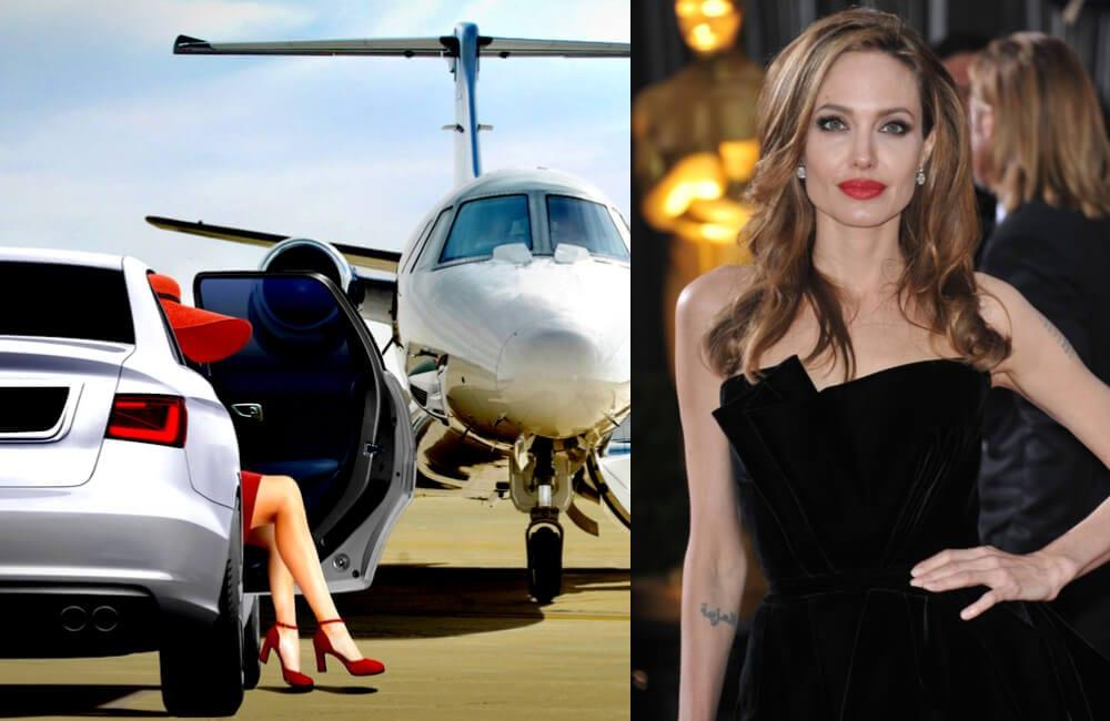 Private Jet @zieusin | Angelina Jolie @Featureflash Photo Agency/ Shutterstock.com