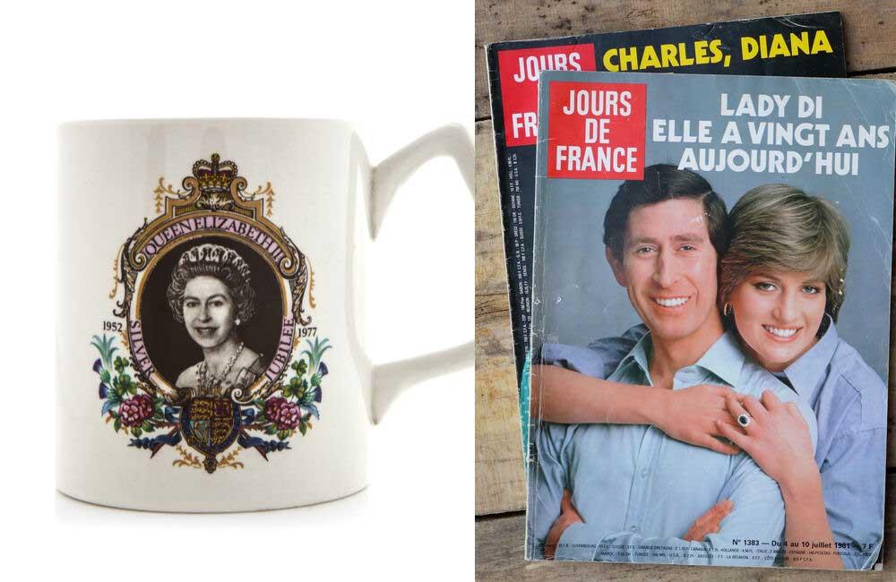 Queen Elizabeth II Mug © urbanbuzz | Princess Diana and Prince Charles Magazine © emka74 / Shutterstock.com
