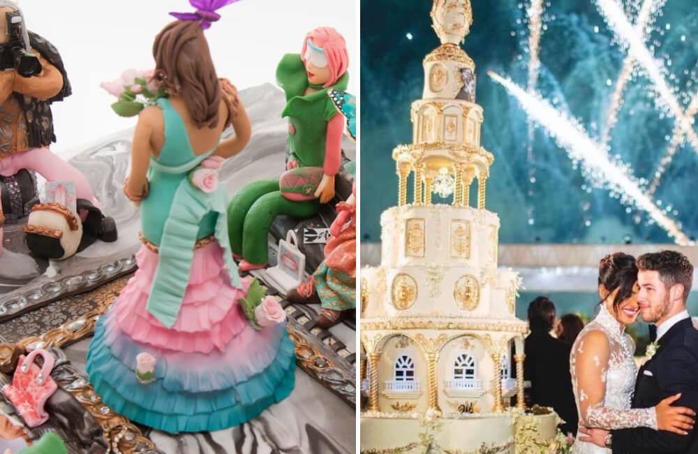 Debbie Wingham's Runway Cake @debbie_wingham/Instagram | Jonas Wedding Cake @ETCBollywood/Twitter